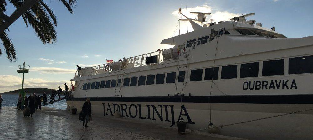 The Catamaran ferry Split Hvar offloads passengers. The Hvar Split ferry is weather dependent.